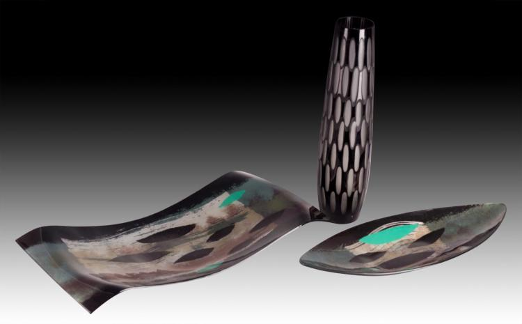 3Pc. Art Glass Tray & Vase Lot