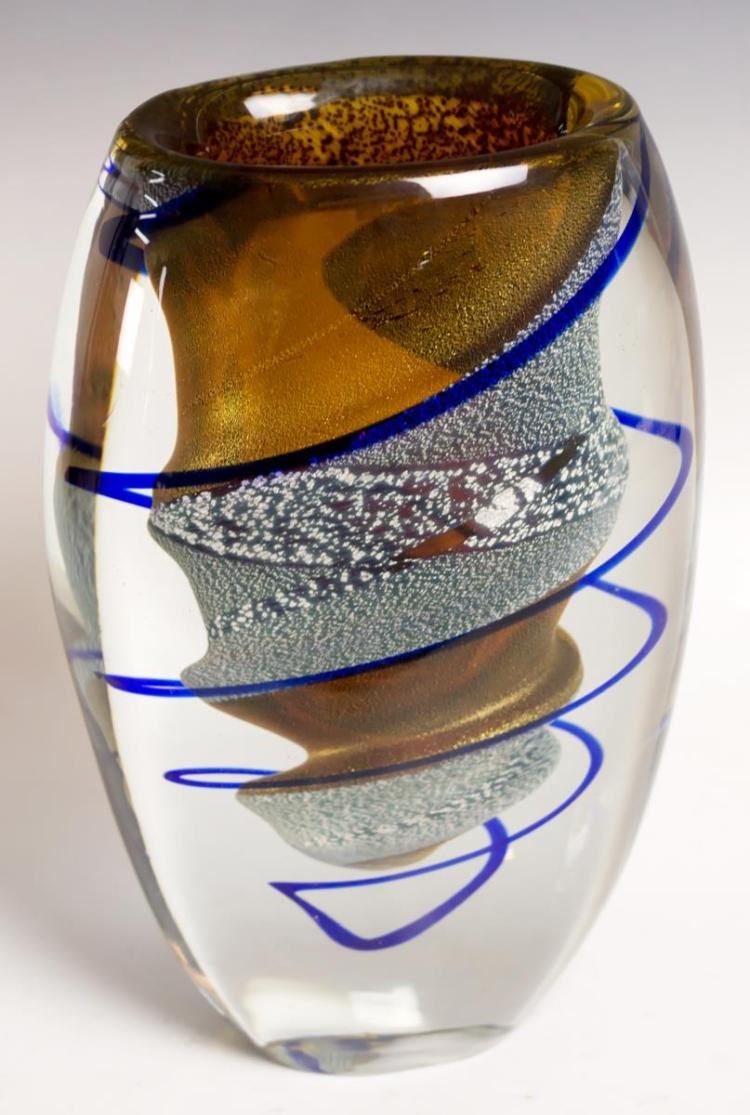 Murano Custom Art Glass Vase, Signed