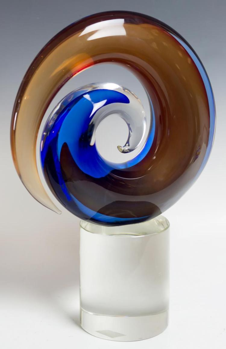 Murano Glass Abstract Art Sculpture, Signed
