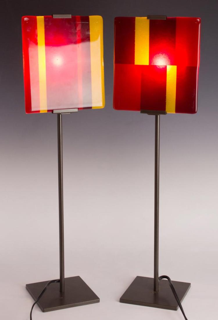 2Pc. Signed Art Glass Panel Lamps
