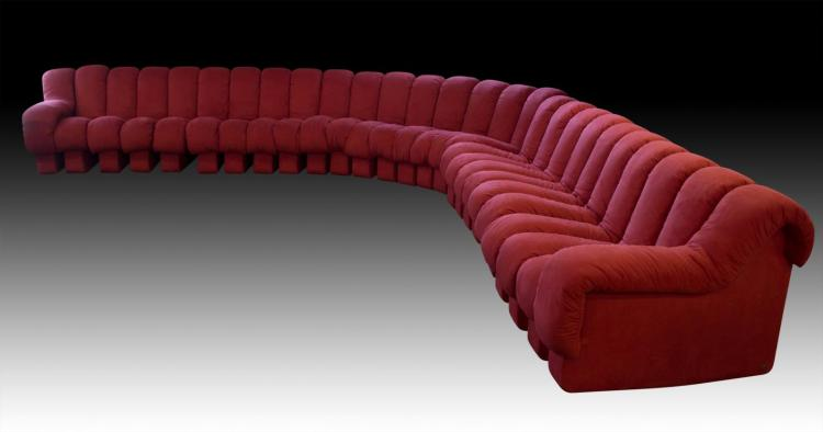 De Sede Ds-600 Non-Stop Sectional Sofa, Red Fabric