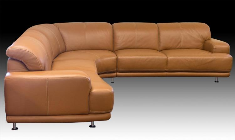 W. Schillig Brown Leather Sectional Sofa