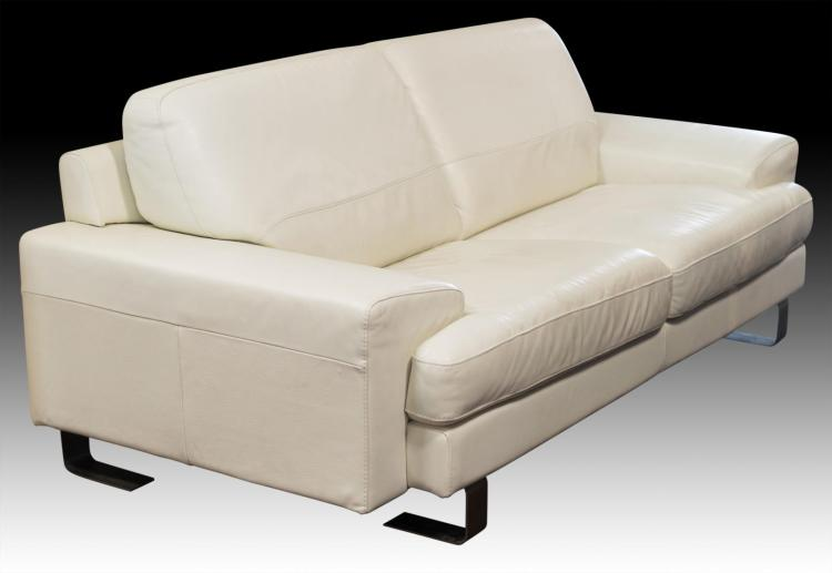 Contemporary Modern White Leather Sofa