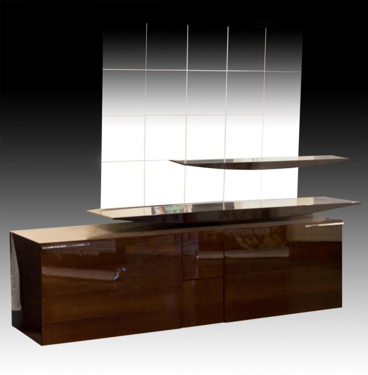 Malerba Italian Credenza w/ Mirror & 2 Shelves