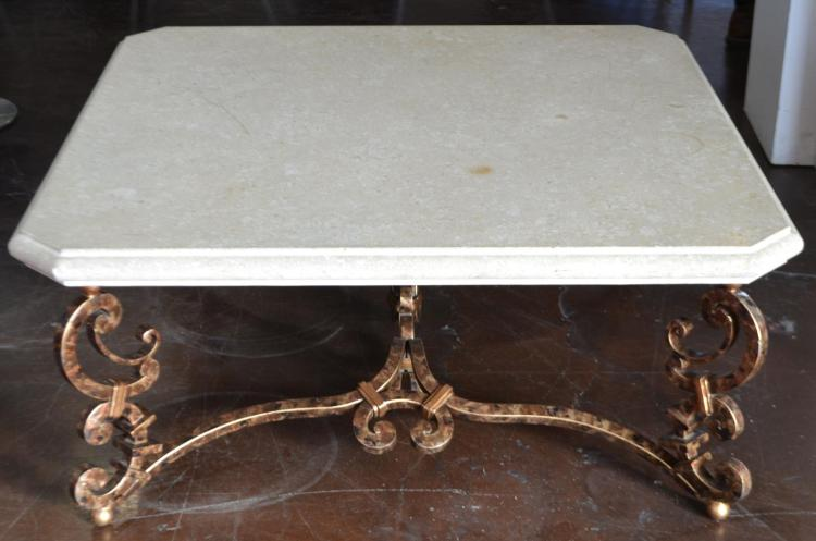 Travertine Top and Painted Wrought Iron Table
