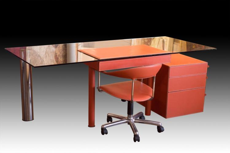 Hermes Inspired Glass Top Desk, Chair & Cabinet
