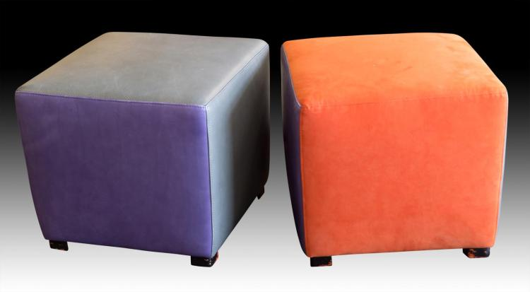 Multicolored Leather and Suede Ottomans