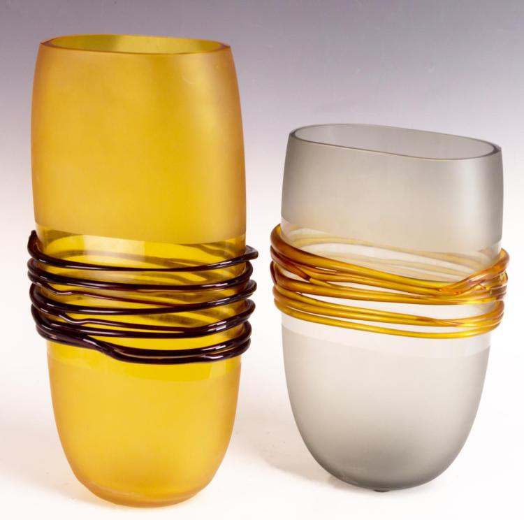 2Pcs. Designer Art Glass Vases