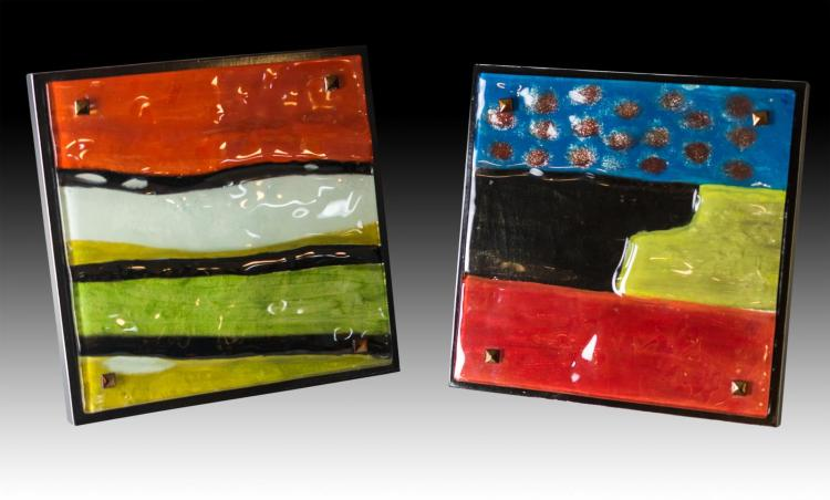 2Pc. Abstract Glass Wall Art