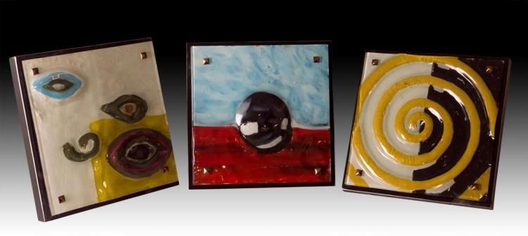 3Pc. Abstract Glass Wall Art