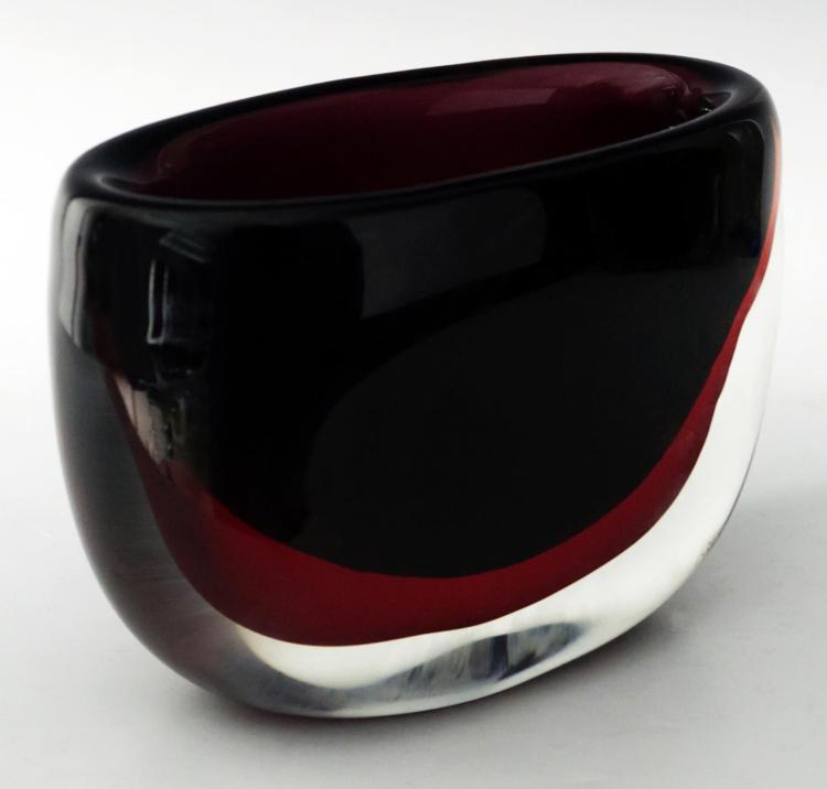 Oggetti Italian Murano Art Glass Vase, Signed