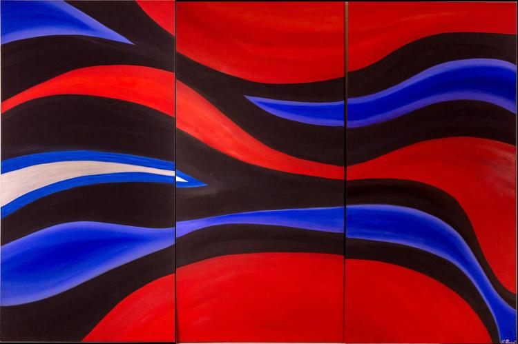 Three Piece Signed Abstract Oil Painting