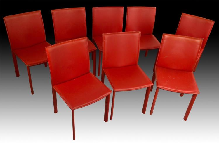 8 Red Italian Modern Designer Dining Chairs