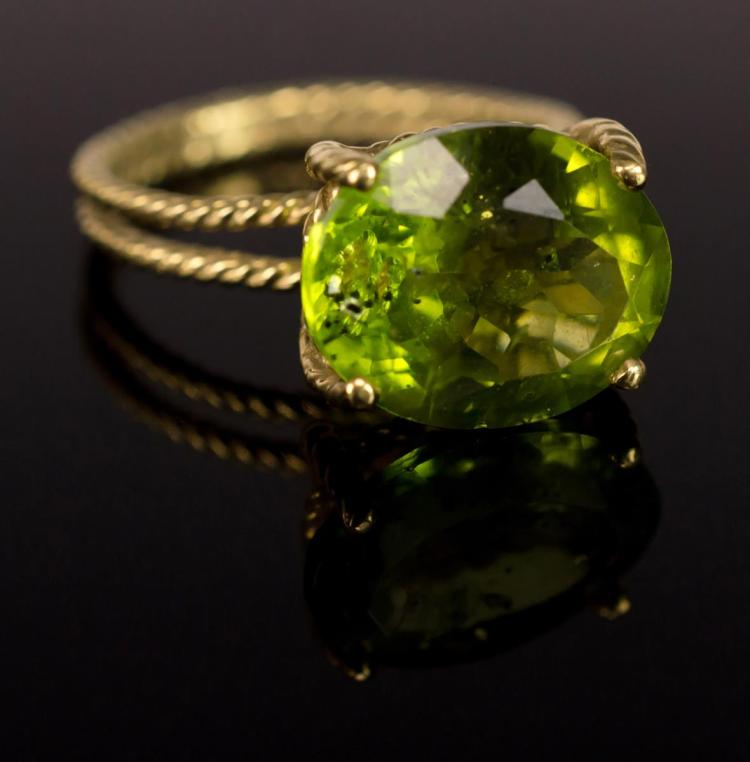 Vera Wang Green Tourmaline 18 Karat Gold Ring