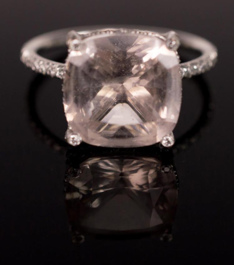 Vera Wang Pink Tourmaline 18 Karat White Gold Ring