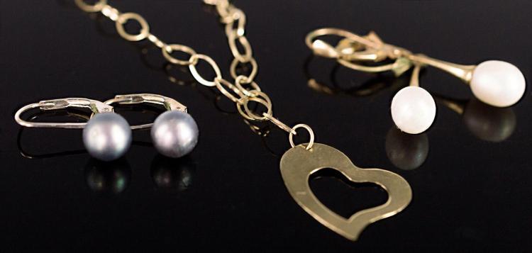 3Pcs 14K Gold, 2 Pair of Pearl Earrings & Bracelet