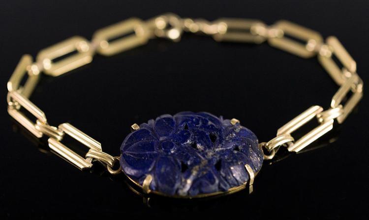 14K Gold, Blue Jade Bracelet, Carved Stone