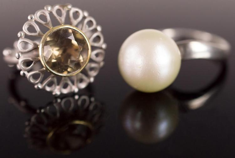 2Pcs. 18K Gold & Sterling Rings, Citrine & Pearl
