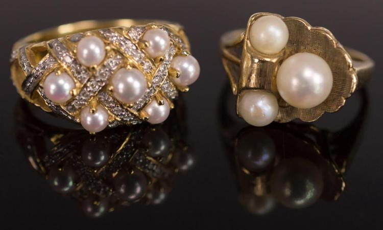 2 Rings, 10K and 14K Gold, Pearls and Diamonds