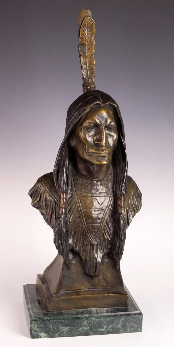 Max Bachmann Indian Brave, Bronze Bust