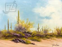 John Loo (20th C.) Desert Scene Oil Painting