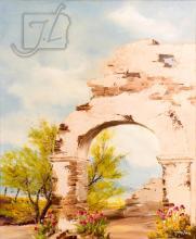 John Loo (20th C.) Architectural Desert Scene