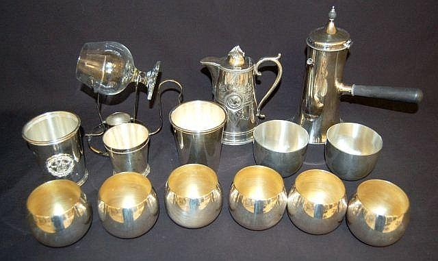 Silver Plate & Pewter Cups, Brandy Snifter & More