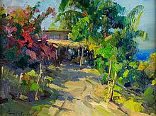 """Ovanes Berberian (1951-) """"Cottage By The Pacific"""""""