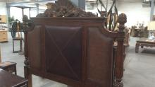 Ornate Carved Wood Leather Inlay Queen Bed Frame