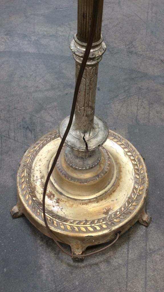 Brass torchiere floor lamp w adjustable arm for Brass floor lamp with adjustable arm