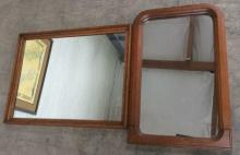 2Pc. Atq. Framed Wooden Mirrors
