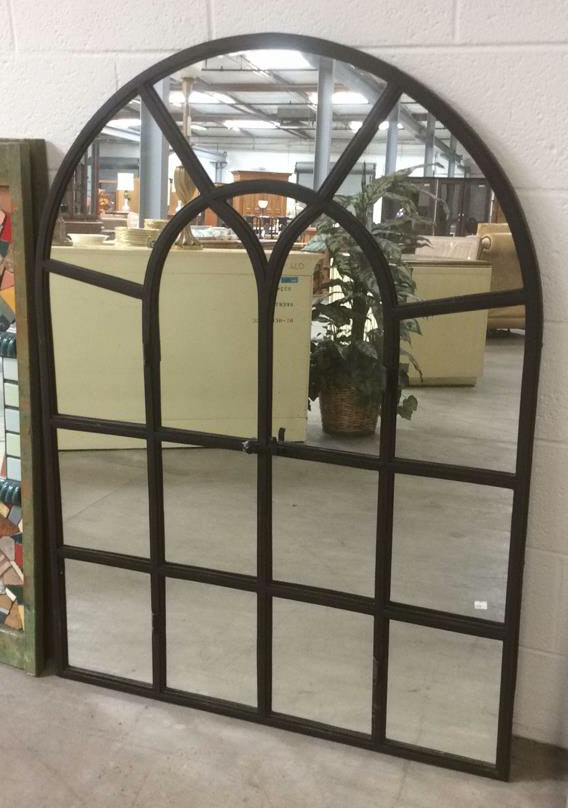 Metal Frame Window Panels : Metal window style frame panel mirror