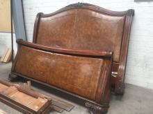 Henredon King Leather & Carved Wood Bed Frame