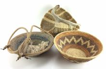 3Pc. Hand Woven Baskets