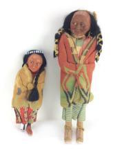 2Pc. 20th C. Skookum Native American Dolls