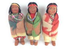 3Pc. 20th C. Skookum Native American Dolls