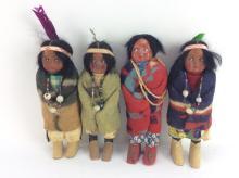 4Pc. 20th C. Skookum Native American Dolls