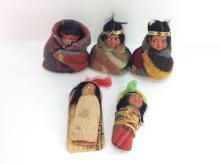 5Pc. 20th C. Skookum Native American Dolls