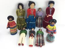 10Pc. Folk Art Native American Dolls