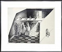 """Eleanor Spiess-Ferris Signed Pencil Drawing, """"The Closet,"""" 1977"""