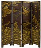 Japanese 4-Panel Room Divider, Dragons & Deities