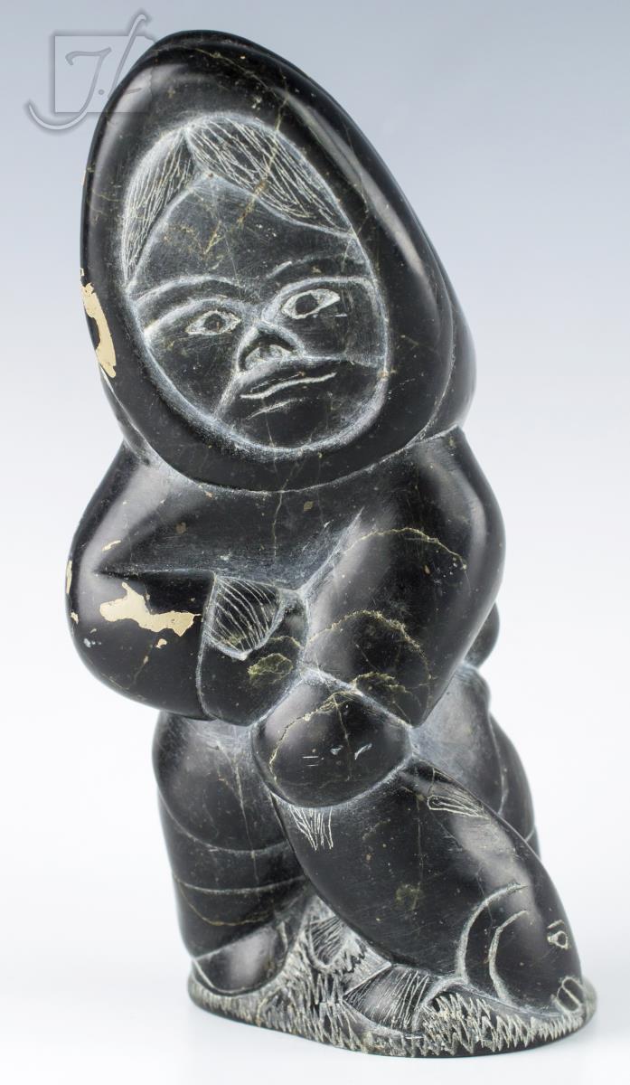 Simeonie Elijassiapik Carved Boy w/ Fish Figure