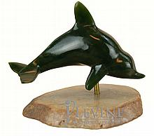 Carved Jade Porpoise w/ Stone Stand