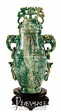 Carved Jade Urn w/ Stand #1