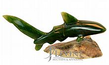 Carved Jade Thresher Shark w/ Stone Stand