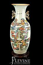 Chinese Ceramic Temple Vase w/ Wooden Stand #1