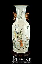Chinese Ceramic Temple Vase w/ Wooden Stand #2