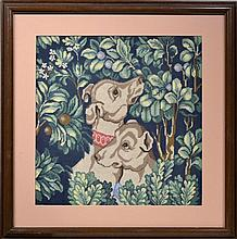 Michael Allen Hampshire (1933-2013) Framed Needlepoint Tapestry with Two Dogs