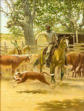 "Jack Swanson (1927-) ""Heeling Calves, California"""