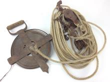 20th C. Tape Measure & Rope Pulley